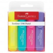 Текстмаркер Faber-Castell Textliner 1546, 3 пастелни и 1 неоновожълт цвят