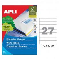 Етикети Apli, А4, бели, 70 х 30 мм, 27 бр./л., прави ъгли, 100 л./пак.