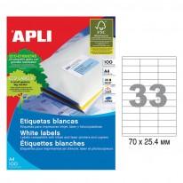 Етикети Apli, А4, бели, 70 х 25.4 мм, 33 бр./л., прави ъгли, 100 л./пак.