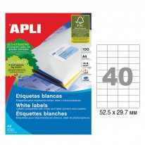 Етикети Apli, А4, бели, 52.5 х 29.7 мм, 40 бр./л., прави ъгли, 100 л./пак.