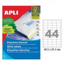 Етикети Apli, А4, бели, 48.5 х 25.4 мм, 44 бр./л., прави ъгли, 100 л./пак.