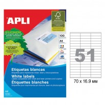 Етикети Apli, А4, бели, 70 х 16.9 мм, 51 бр./л., прави ъгли, 100 л./пак.