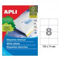 Етикети Apli, А4, бели, 105 х 74 мм, 8 бр./л., прави ъгли, 100 л./пак.