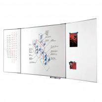 Бяла магнитна дъска трио, алуминиева рамка Bi-Office 120x240 см + 2 х 120 см