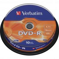 DVD - R диск VERBATIM Matt Silver, 4.7GB, 16x, шпиндел, 10 бр.