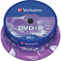 DVD+R диск VERBATIM Matt Silver, 4.7GB, 16x, шпиндел, 25 бр.