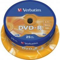 DVD - R диск VERBATIM Matt Silver, 4.7GB, 16x, шпиндел, 25 бр.
