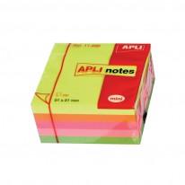 Самозалепващи листчета Apli, 51 x 51 мм, 250 л., 5 ярки цвята