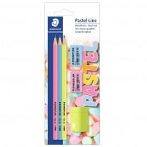 Комплект Staedtler Pastel Line, 3 молива, 2 гуми, острилка, блистер