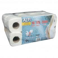 Тоалетна хартия ALPI Professional, 3-пластова, бяла, 175 откъса, 1 бр.