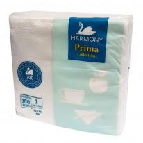 Салфетки Harmony Prima, 330 х 330 мм, 1-пластови, бели