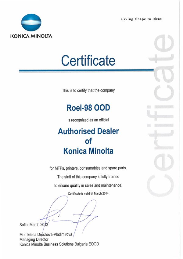 Authorised Dealer of Konnica Minolta
